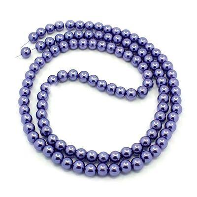 Voskované perle 6 mm, 140 ks, fialové