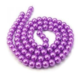 Voskované perle 6 mm, 140 ks, růžovofialová