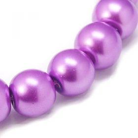 Voskované perle 4 mm, 216 ks, růžovofialová