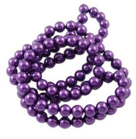 Voskované perle 6 mm, 140 ks, tmavě fialová
