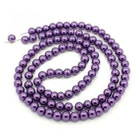 Voskované perle 4 mm, 216 ks, tmavě fialová