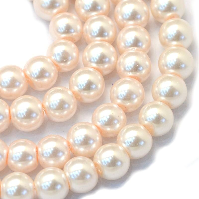 Voskované perle 6 mm, 145 ks, antik bílá