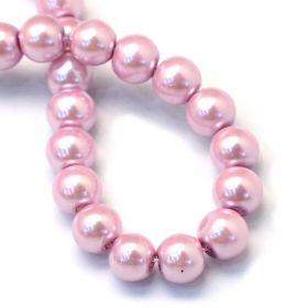 Voskované perle 6 mm, 145 ks, růžová flamingo