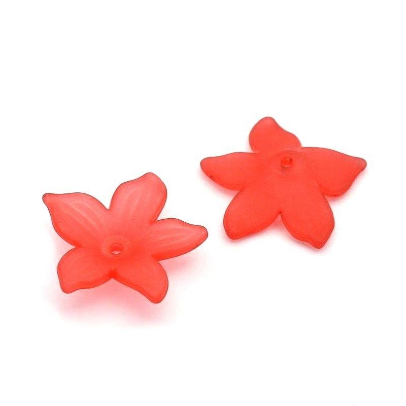 Akrylový květ 20 mm, 2 ks, červený