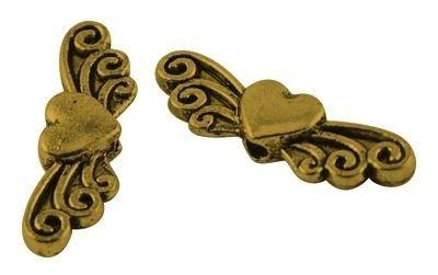 Andělská křídla se srdíčkem, 24x17 mm, zlatá antik