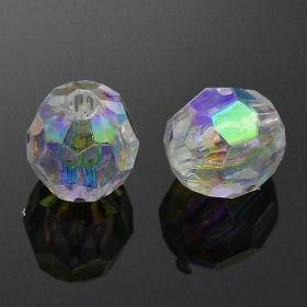 Akrylové korálky s AB pokovem 8 mm, 50 ks, čiré s AB