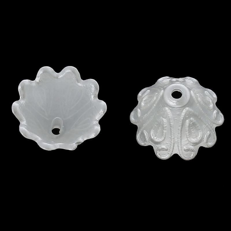 Akrylové zvonky 15x10 mm, 20 ks, bílé
