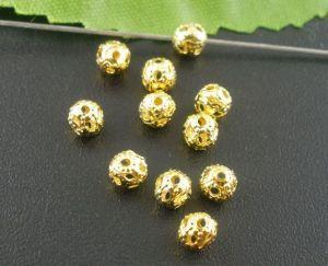 Filigránový korálek 4 mm, 20 ks, zlatý