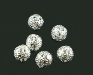 Filigránový korálek 6 mm, 20 ks, stříbrný