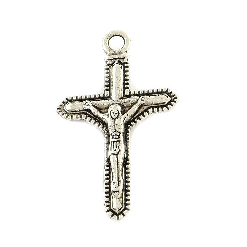 Kříž s ježíšem 36x21 mm, 20 ks, starostříbro