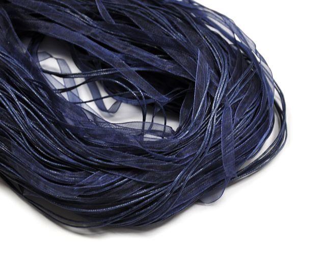 Organzová stužka se zapínáním, 42 cm, námořnická modrá