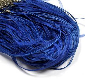 Organzová stužka se zapínáním, 42 cm, kobaltově modrá