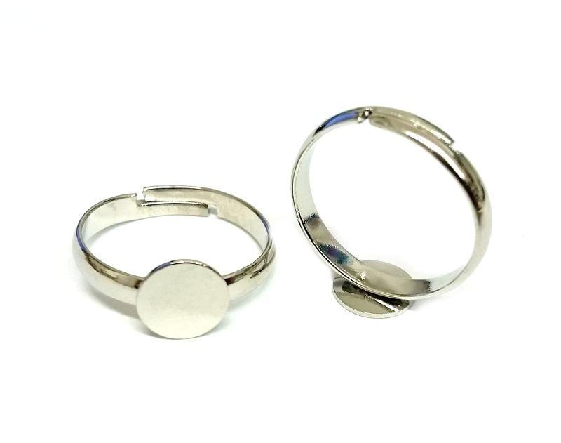 Prsten s ploškou k nalepení 8 mm, velikost 17 mm, platinový