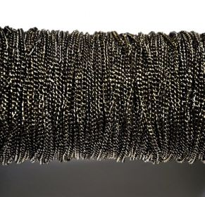 Řetízek 3x2 mm, plochý, broušený , 1 m, černý
