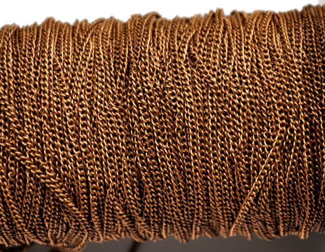 Řetízek 3x2 mm, plochý, broušený , 1 m, měděný