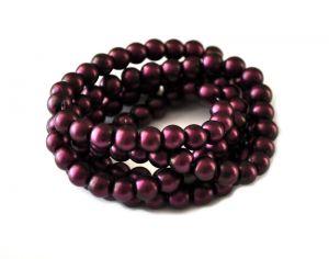 Voskované perle 8 mm, 106 ks, matná fialovovínová