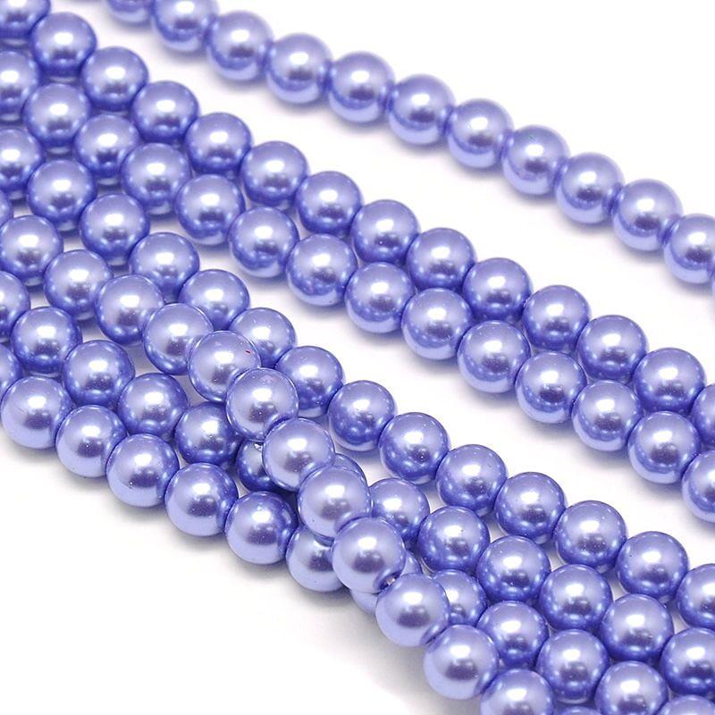 Skleněné perle 8 mm, 52 ks, modrofialová