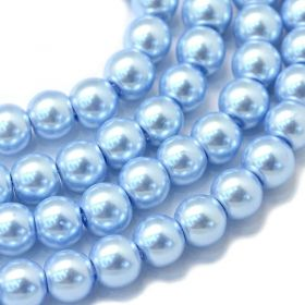 Voskované perle 8 mm, 105 ks, blankytně modrá