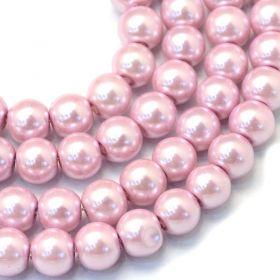 Voskované perle 8 mm, 105 ks, růžová flamingo