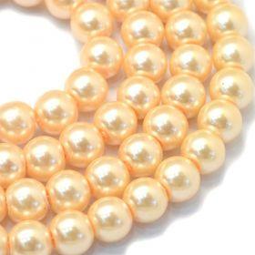 Voskované perle 8 mm, 105 ks, světle zlatá