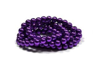 Voskované perle 8 mm, 106 ks, fialová