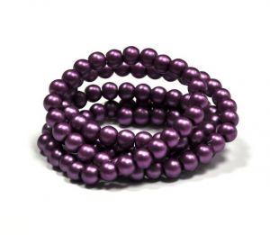 Voskované perle 8 mm, 106 ks, matná fialová