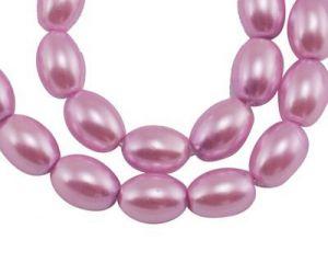 Voskované perle ovál 8x6 mm, 100 ks, růžové