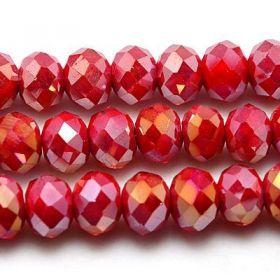 Slavík 4x3 mm, 140 ks, plnobarevná červená s AB pokovem