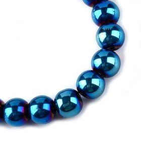 Skleněné korálky 6 mm, 136 ks, modrý pokov