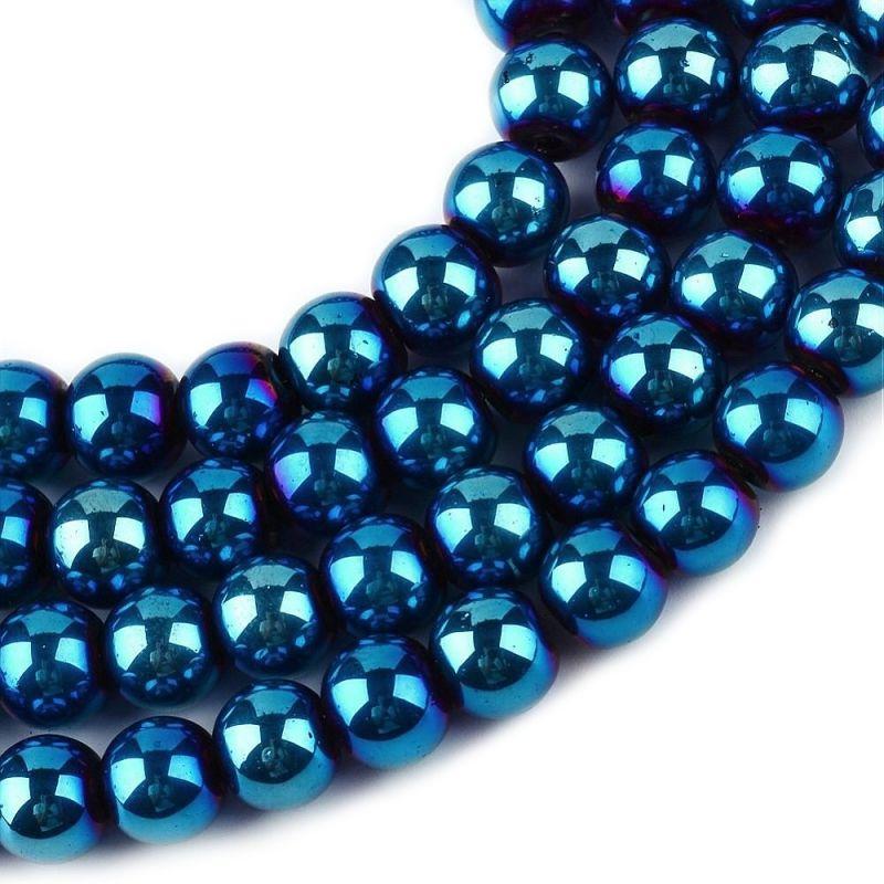 Skleněné korálky 4 mm, 200 ks, modrý pokov