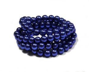 Voskované perle 6 mm, 140 ks, královská modrá