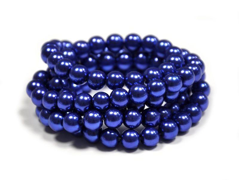 Voskované perle 4 mm, 216 ks, královská modrá