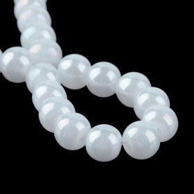 Skleněné korálky 6 mm, 136 ks, bílé perleťové s AB pokovem