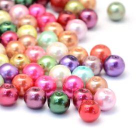Skleněné perle 6 mm, 50 ks, mix barev