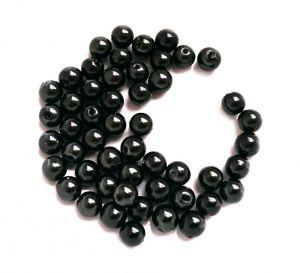 Akrylové korálky 6 mm, 50 ks, černé