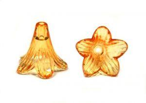 Akrylový zvonek dlouhý průhledný 22 mm, 10 ks, oranžový