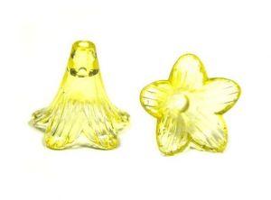 Akrylový zvonek dlouhý průhledný 22 mm, 10 ks, žlutý