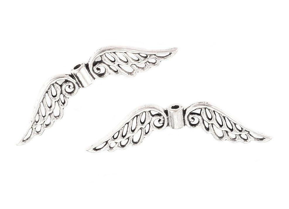 Andělská křídla 42x10 mm, 20 ks, starostříbrná