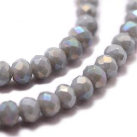 Slavík 4x3 mm, 140 ks, plnobarevná světle šedá s AB pokovem
