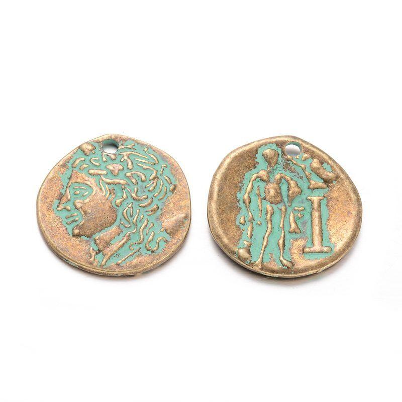 Přívěsek mince 23x21 mm, zelený bronz