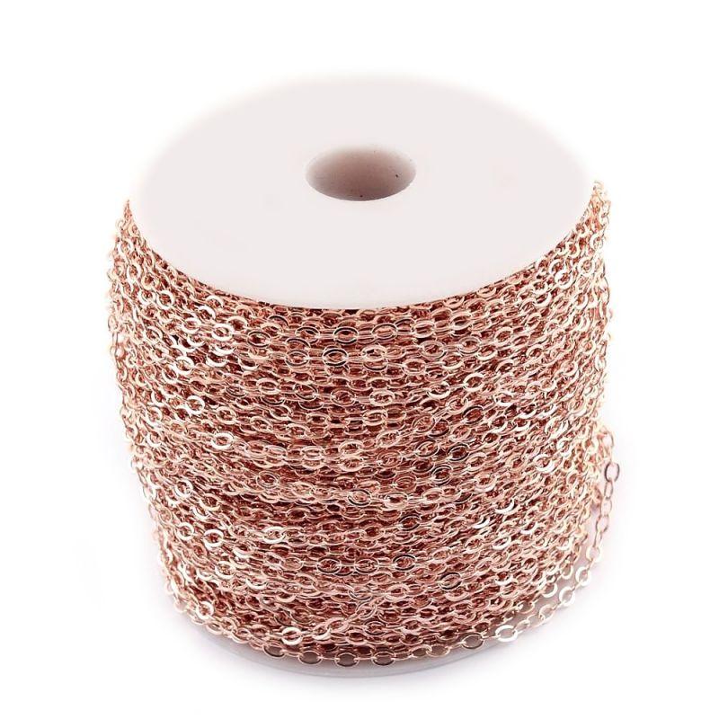 Řetízek s článkem 3x2 mm, 1 m, růžová zlatá
