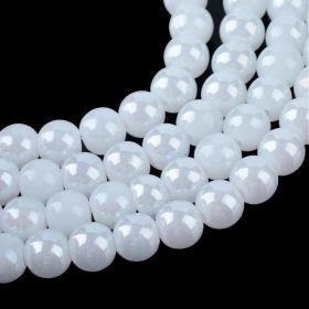 Skleněné korálky 8 mm, 104 ks, bílé perleťové s AB pokovem