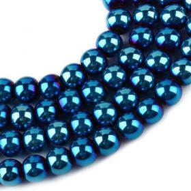 Skleněné korálky 8 mm, 104 ks, modrý pokov