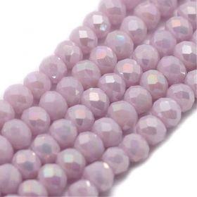Slavík 4x3 mm, 140 ks, plnobarevná světle růžová s AB pokovem