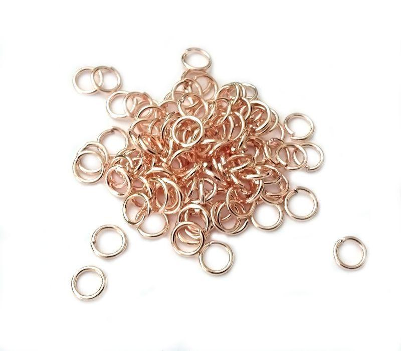 Spojovací kroužek 6 mm, 100 ks, růžové zlato