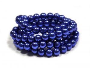 Voskované perle 8 mm, 106 ks, světle královská modrá