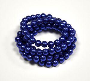 Voskované perle 8 mm, 106 ks, královská modrá