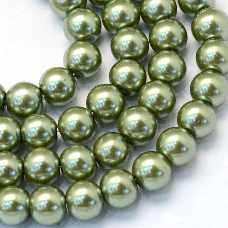 Voskované perle 8 mm, 106 ks, olivově zelená