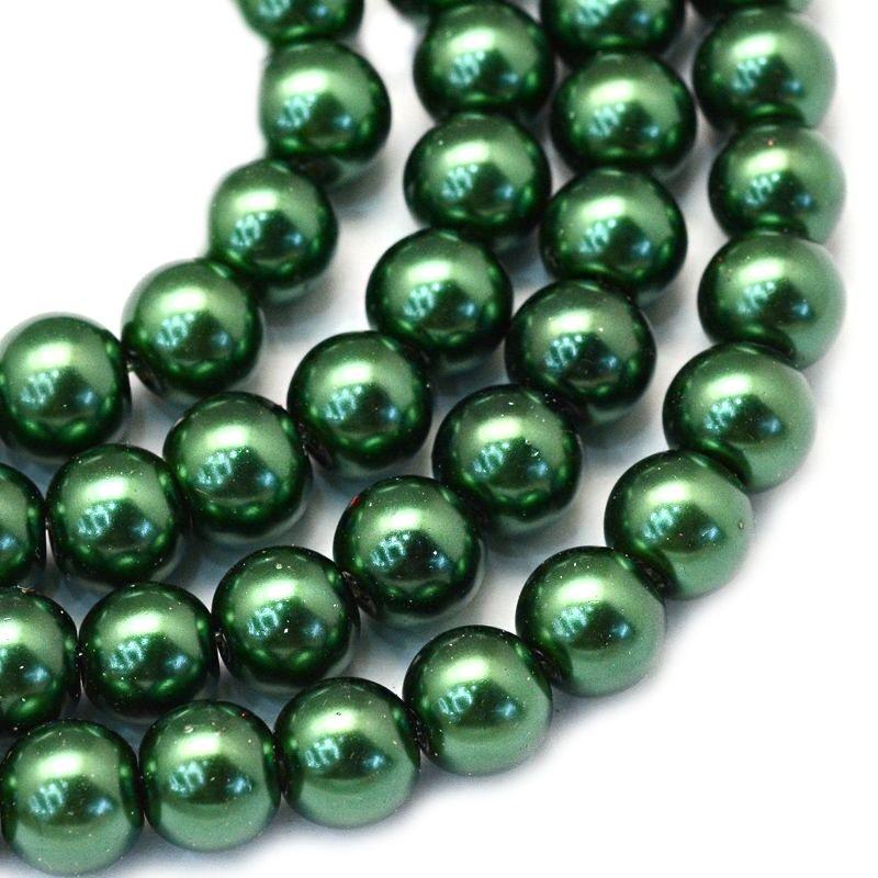 Voskované perle 8 mm, 106 ks, tmavě zelená