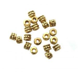 Zdobený korálek 6x4,5 mm, 20 ks, antik zlatá